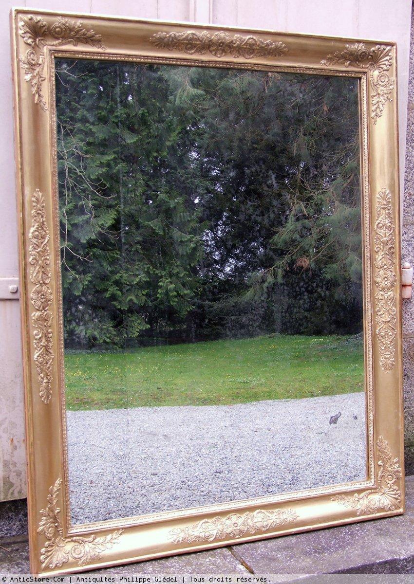 Grand miroir empire en bois et stuc dor xixe si cle n for Grand miroir en bois