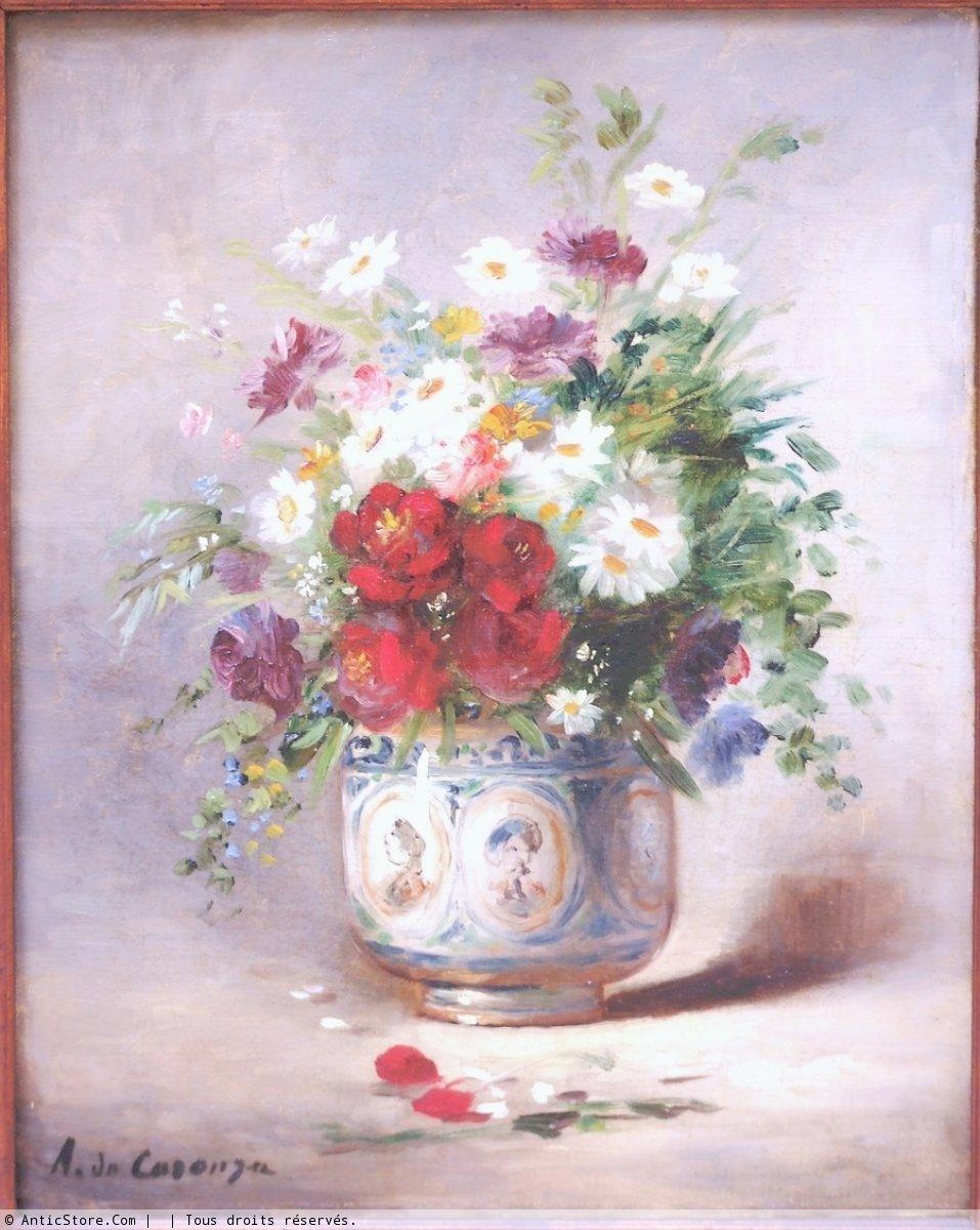 Vase de fleurs , A de Caranga (1829 , 1889) , Tableaux et dessins