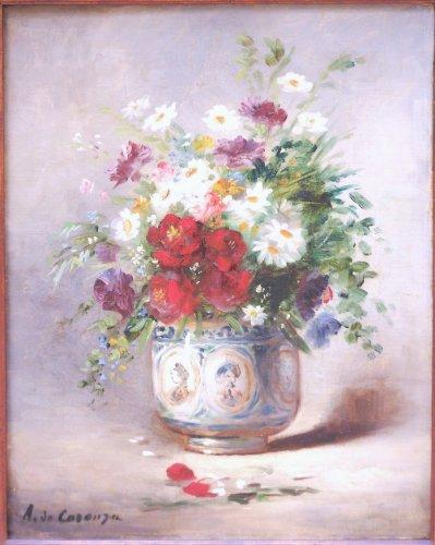 Vase of Flowers - A de Caranga  (1829 - 1889) - Paintings & Drawings Style