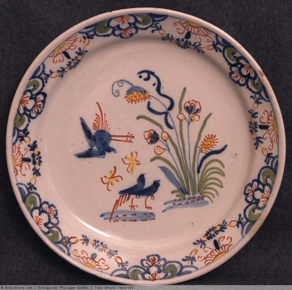 Assiette en fa ence de lille aux oiseaux aquatiques for Assiette de decoration
