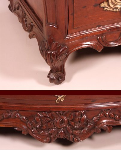"Antiquités - 18th century speckled Cuban mahogany Commode ""scribanne"", Bordeaux France"