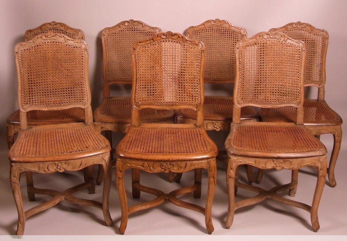 Suite de 7 chaises cann es d 39 poque louis xv estampill es - Prix pour rempailler une chaise ...