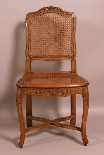 Suite of seven Regence caned chairs stamped by Amand - Seating Style Louis XV