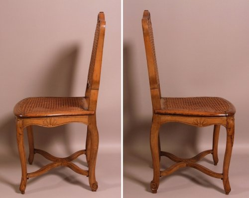 18th century - Suite of seven Regence caned chairs stamped by Amand