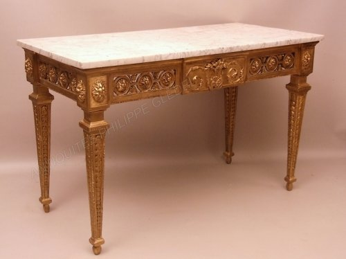Console table in gilded wood attributed to Pierre Pillot - France Provence 18th century - Furniture Style Louis XVI