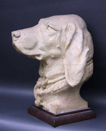 Rare Saint-Hubert or Bloodhound sculpture by A. Cain