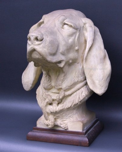 Rare Saint-Hubert or Bloodhound sculpture by A. Cain - Sculpture Style Louis-Philippe