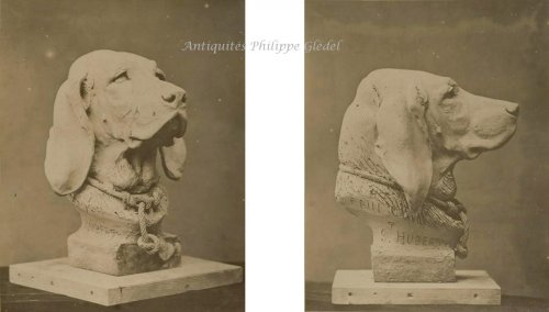 Rare Saint-Hubert or Bloodhound sculpture by A. Cain - Louis-Philippe