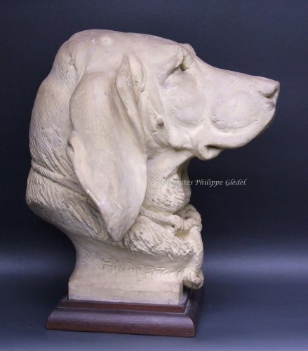 Louis-Philippe - Rare Saint-Hubert or Bloodhound sculpture by A. Cain