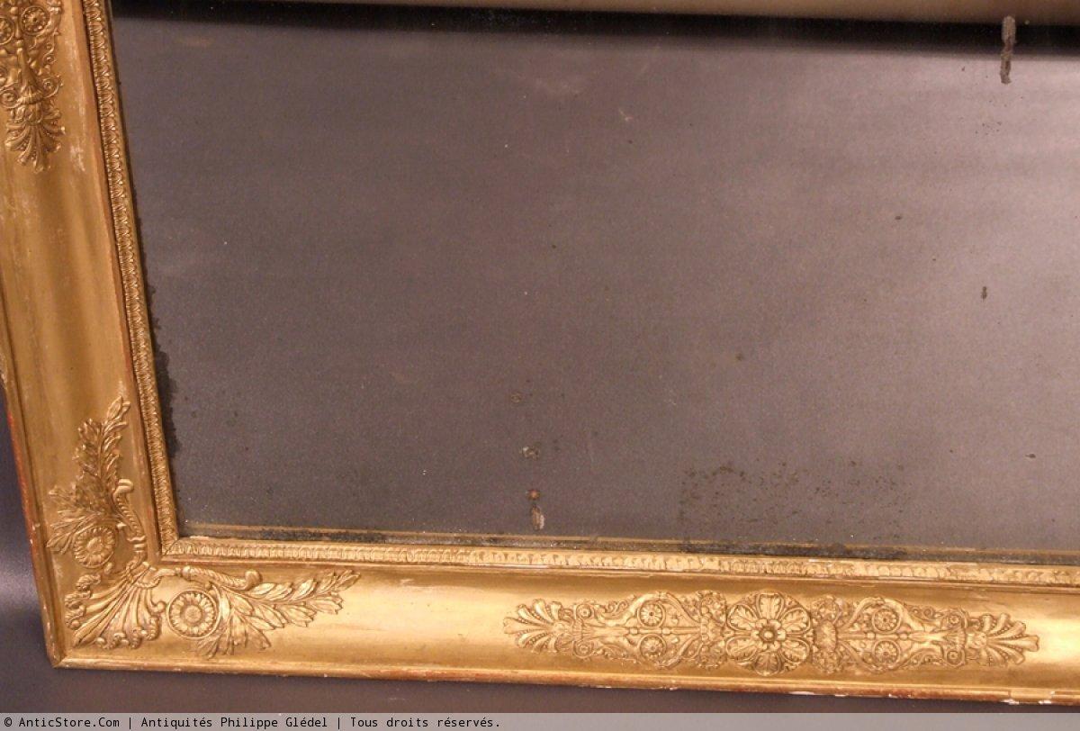 Grand miroir bois dor d 39 poque empire xixe si cle for Grand miroir large