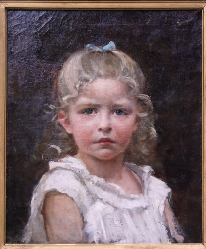 Portrait of a child with a blue ribbon, by Gaston Marquet - Paintings & Drawings Style