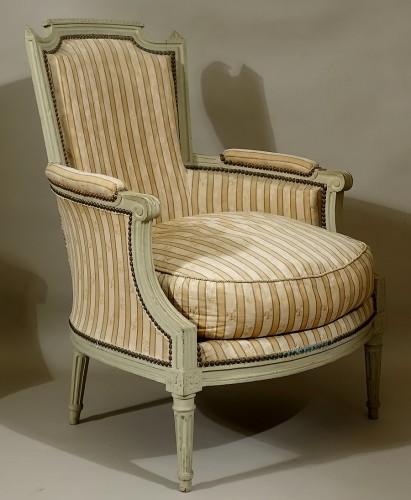 Seating  - Pair of large bergères armchairs - Paris Louis XVI period