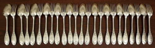 Art nouveau cutlery set in solid silver - Antique Silver Style Art nouveau