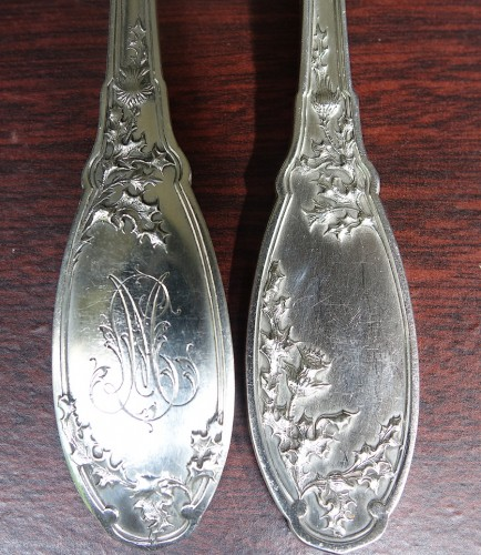 Antiquités - Art nouveau cutlery set in solid silver