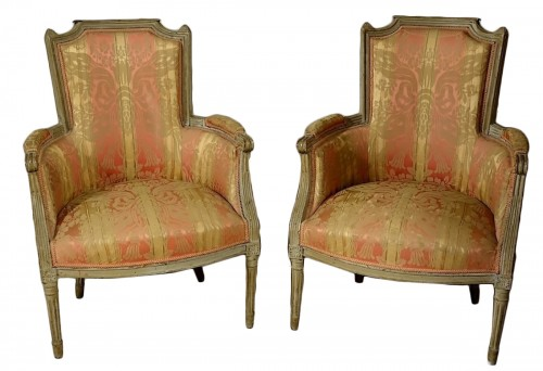 Pair of Louis XVI bergères armchairs