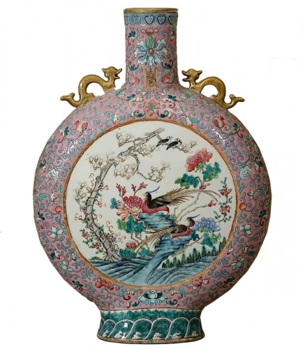 Important vase-gourde bianhu dit Moon Flask, Chine, Guangxu, Qing dynasty