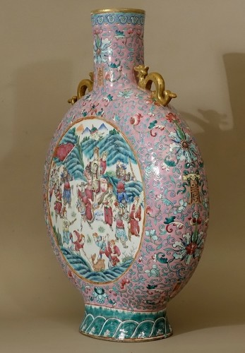 19th century - Large vase-gourd bianhu said Moon Flask, China, Guangxu, Qing dynasty