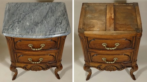 "Antiquités - Small curved front commode ""d'entre-deux"""