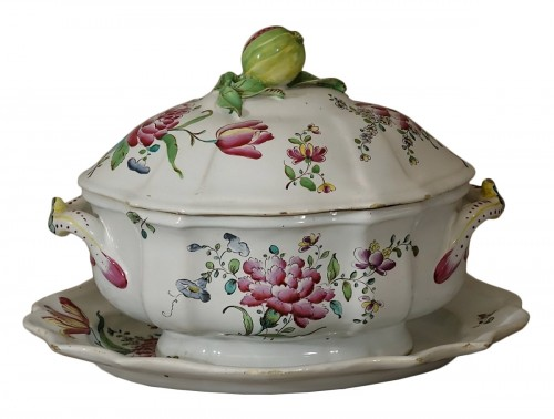 A mid 18th century Faience Terrine of Sceaux