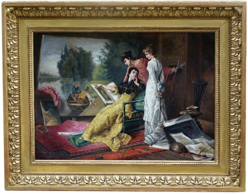 Intimate scene  - French school of the late 19th century