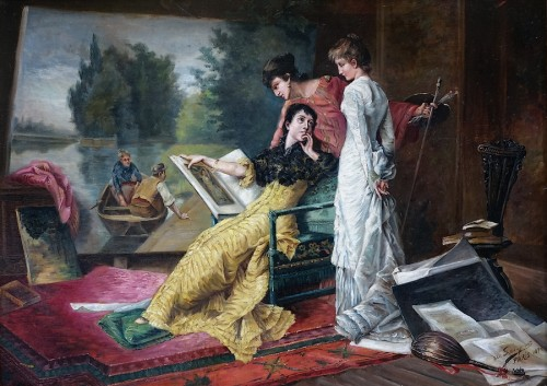 Intimate scene  - French school of the late 19th century - Paintings & Drawings Style Napoléon III