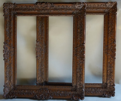 Important pair of Louis XIV Oak wood frames - Decorative Objects Style Louis XIV
