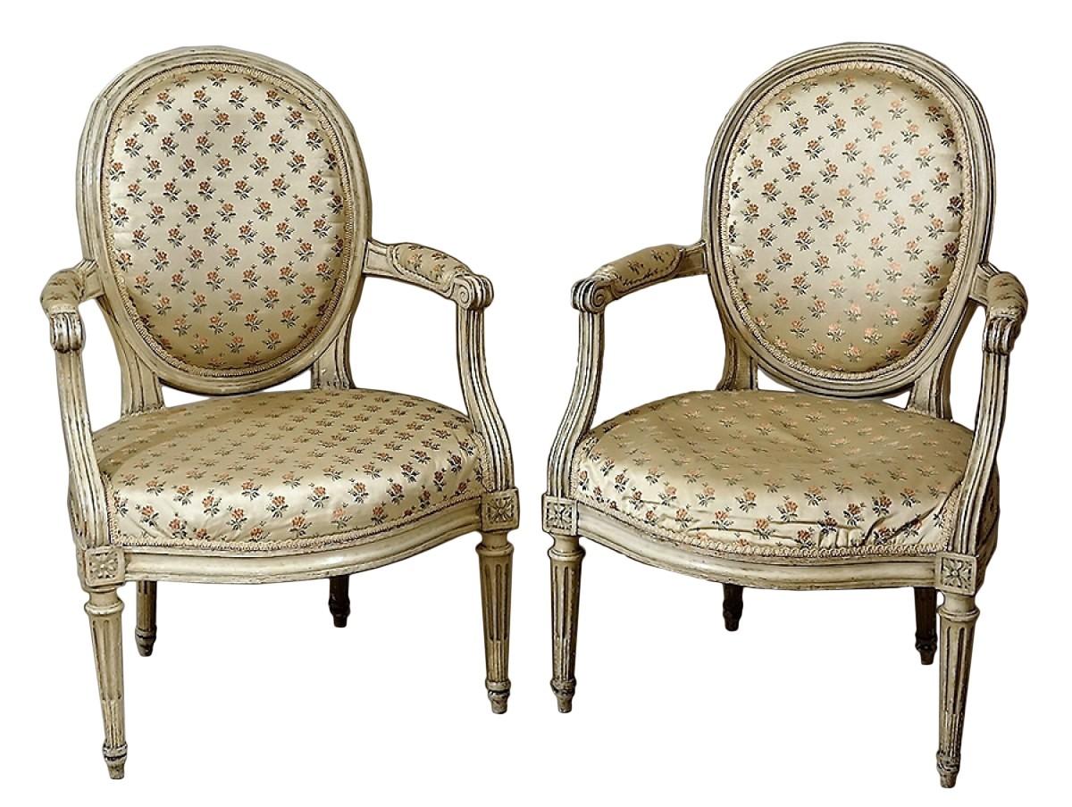 """Refaire Un Fauteuil Louis Xvi paires de fauteuils """"en cabriolet"""" par georges jacob"""