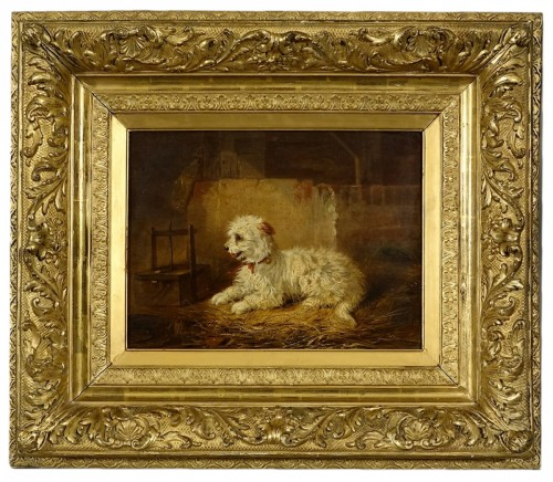 Chien de berger guettant un rat piégé - Zacharie Noterman (1820-1890)