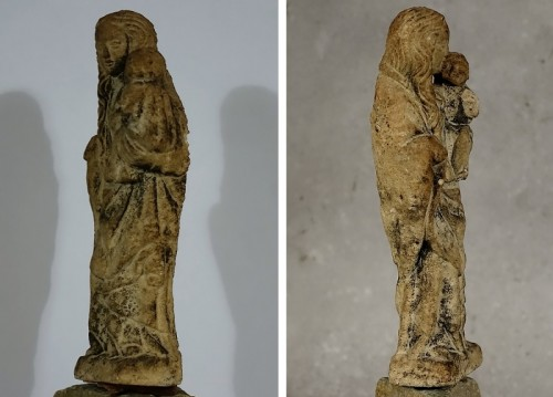 Small Virgin and Child in stone from the center of France, 15th century - Sculpture Style
