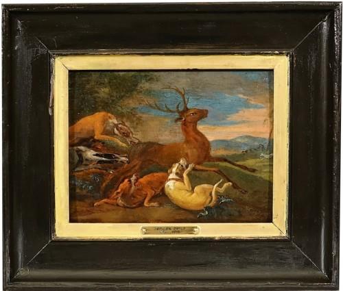 Deer hunting by Adriaen de Gryef - Flemish school of the 17th century