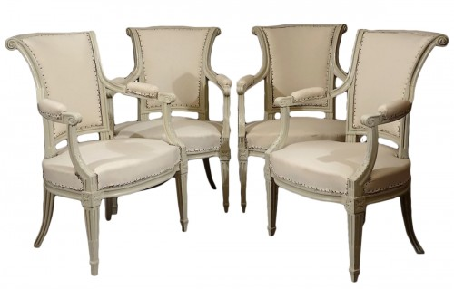 Four Louis XVI armchairs by Pierre Pillot