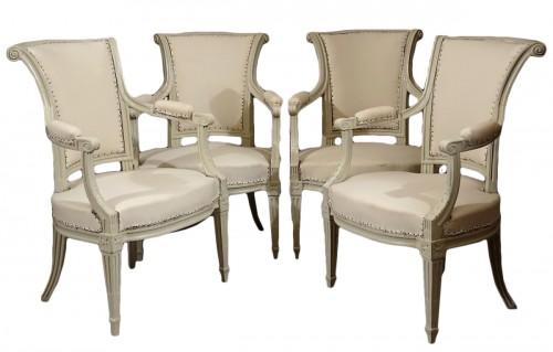 Four Louis XVI armchairs by Pierre Pillot