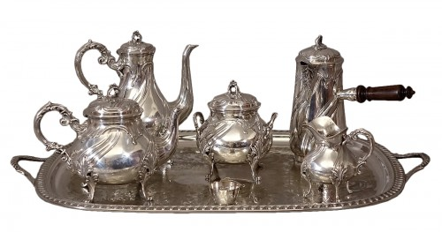 Large chocolate coffee tea set 5 pieces - Goldsmith Alexandre Vaguer - 2,7 Kg