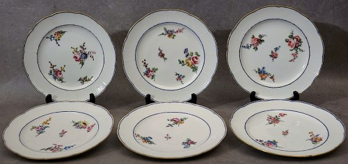"Six ""wicker"" plates - Sèvres 18th century - Porcelain & Faience Style"