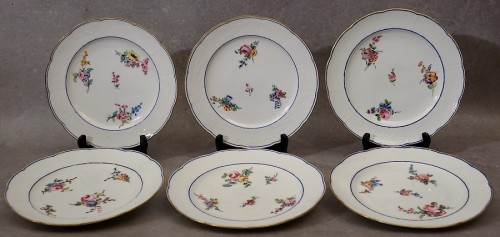 "Porcelain & Faience  - Six ""wicker"" plates - Sèvres 18th century"