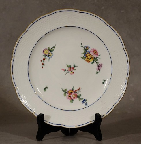 "Porcelain & Faience  - Four ""wicker"" plates - Sèvres 18th century"