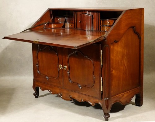 Furniture  - Bureau de pente in solid mahogany - Nantes 18th century