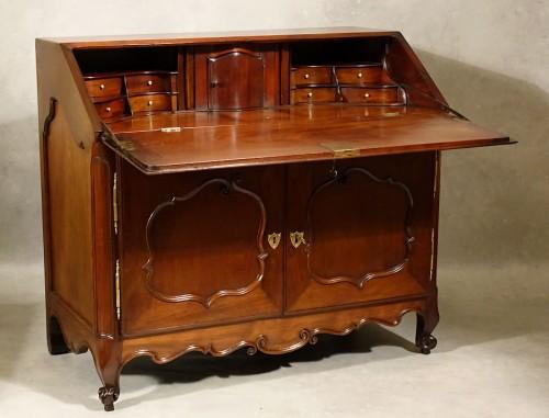 Bureau de pente in solid mahogany - Nantes 18th century -