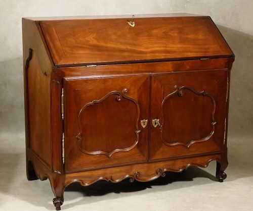 18th century - Bureau de pente in solid mahogany - Nantes 18th century