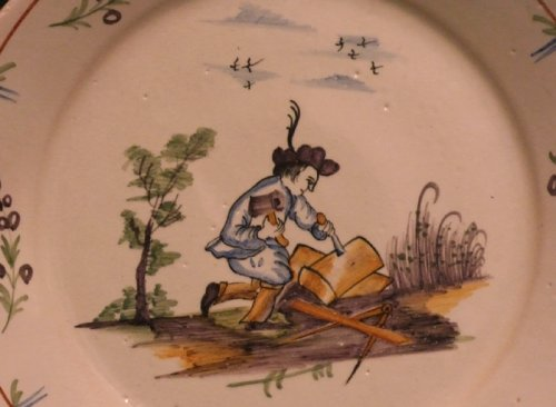 A 18th c. corporative plate in faïence of Nevers - Porcelain & Faience Style