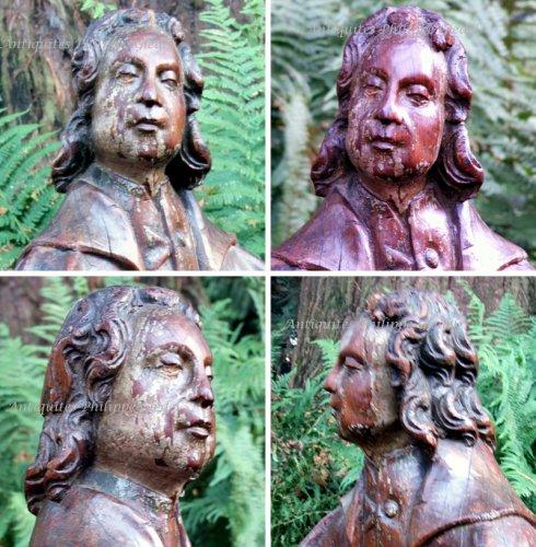 Statue carved oak - François de Salignac de la Mothe-Fénelon - Sculpture Style