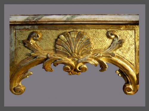 French Regence - Carved giltwood console table of Regence period