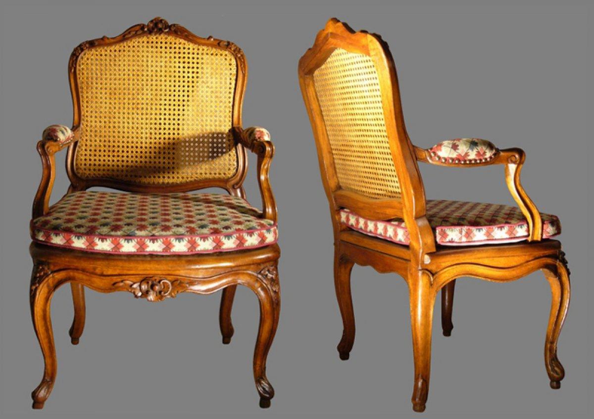Louis XV Canned Fauteuils à La Reine Stamped JB CRESSON Ref - Fauteuil louis 15