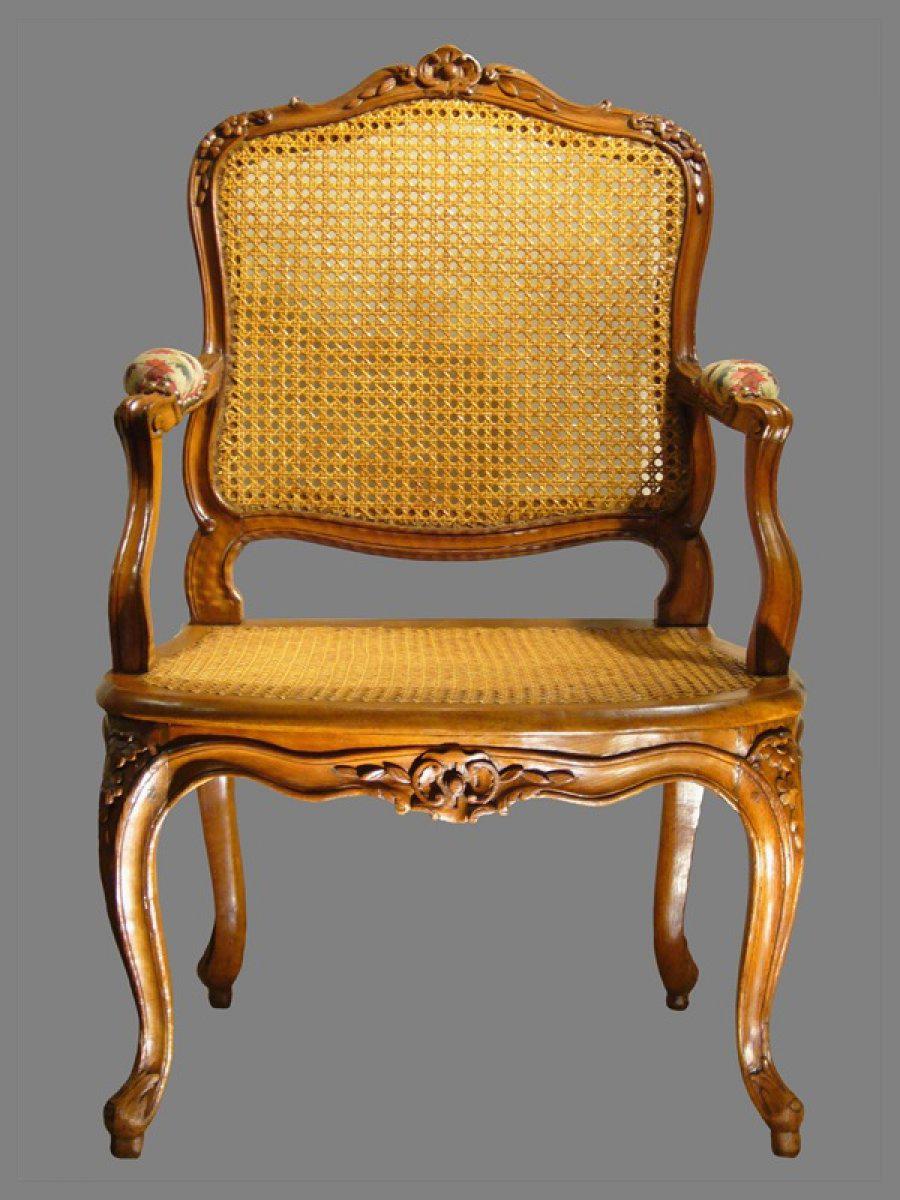 louis xv canned fauteuils la reine stamped j b cresson. Black Bedroom Furniture Sets. Home Design Ideas