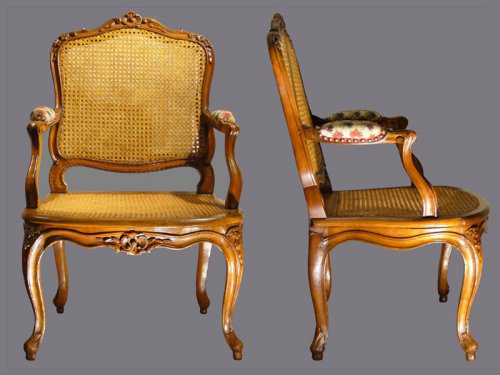 Louis XV canned Fauteuils à la Reine, stamped J.B CRESSON - Seating Style Louis XV