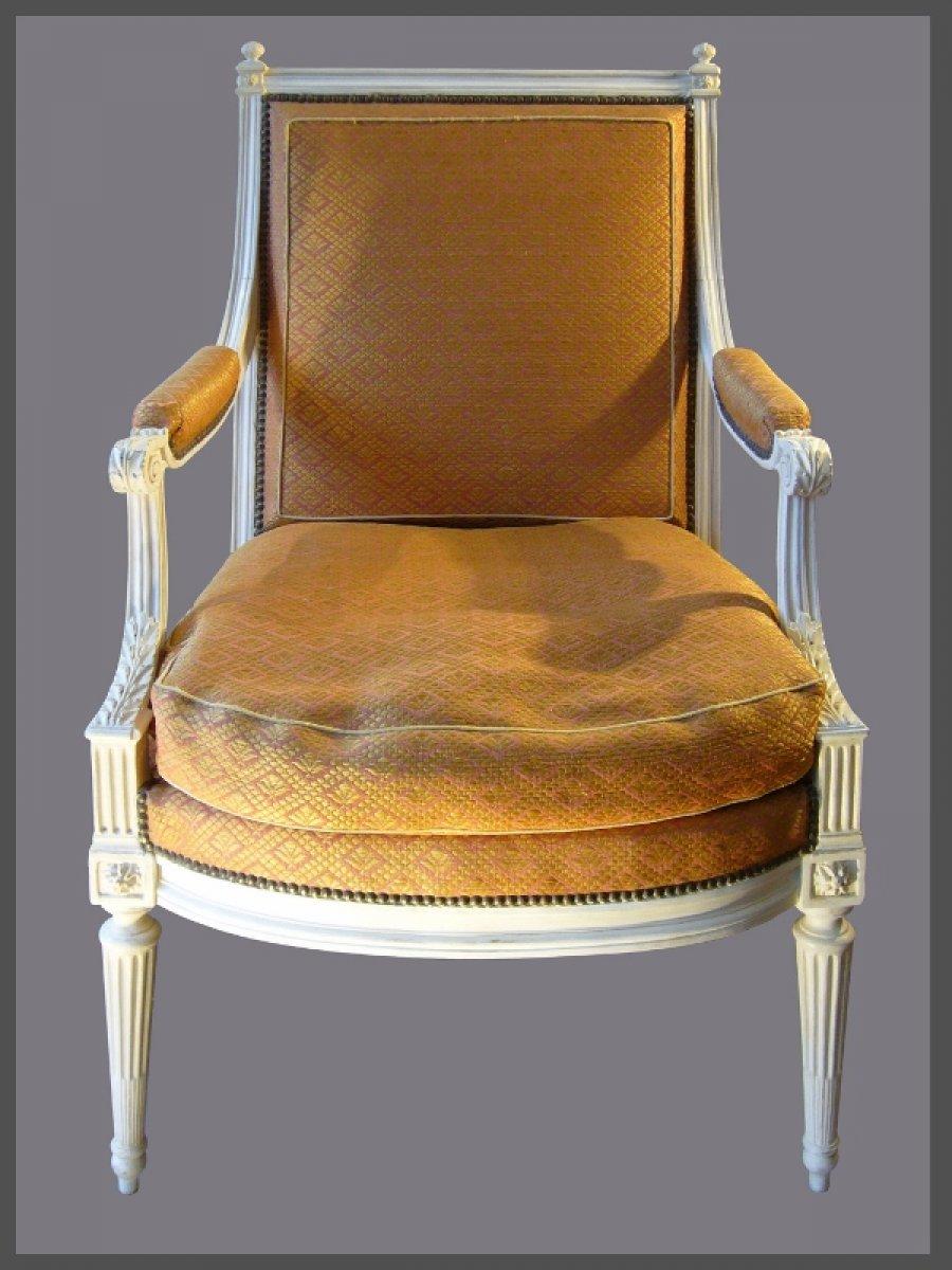 louis xvi a la reine armchairs signed dupain. Black Bedroom Furniture Sets. Home Design Ideas