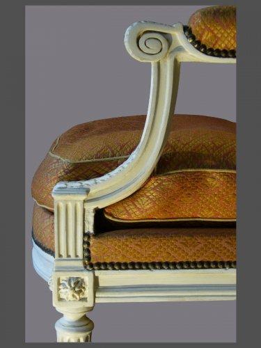 """Antiquités - Louis XVI """"a la Reine"""" Armchairs, signed Dupain"""