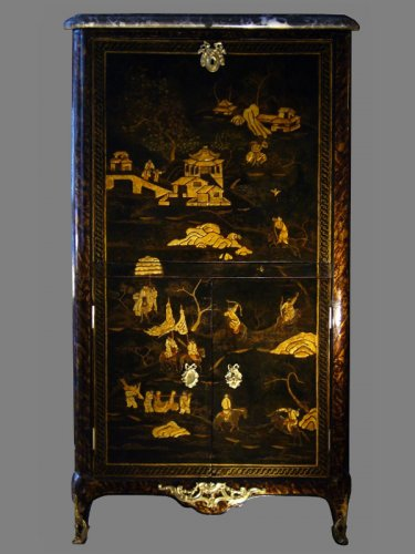 A Louis XV Chinese lacquer Secretaire