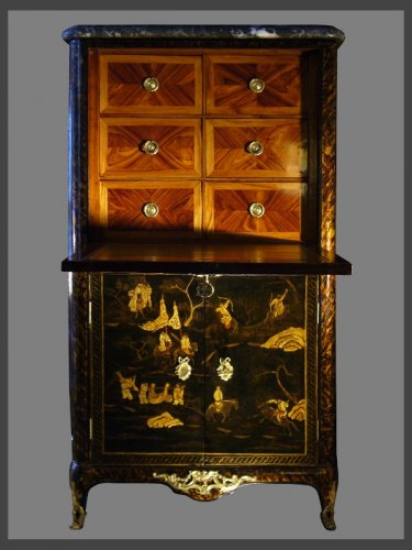 Furniture  - A Louis XV Chinese lacquer Secretaire