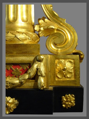 Horology  - French Louis XVI period gilt-bronze and black marble mantel clock by Causard